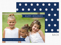 Navy Banners & Dots Holiday Photo Cards